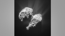 Europe's Rosetta spacecraft captured this image of Comet 67P/Churyumov-Gerasimenko on March 22, 2015, from a distance of 48.3 miles (77.8 kilometers).