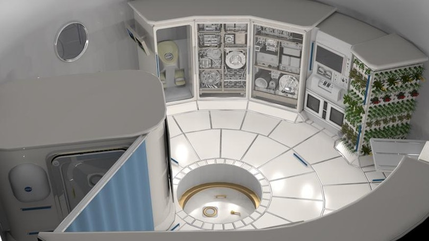 Concept image of the interior of a deep space habitat.