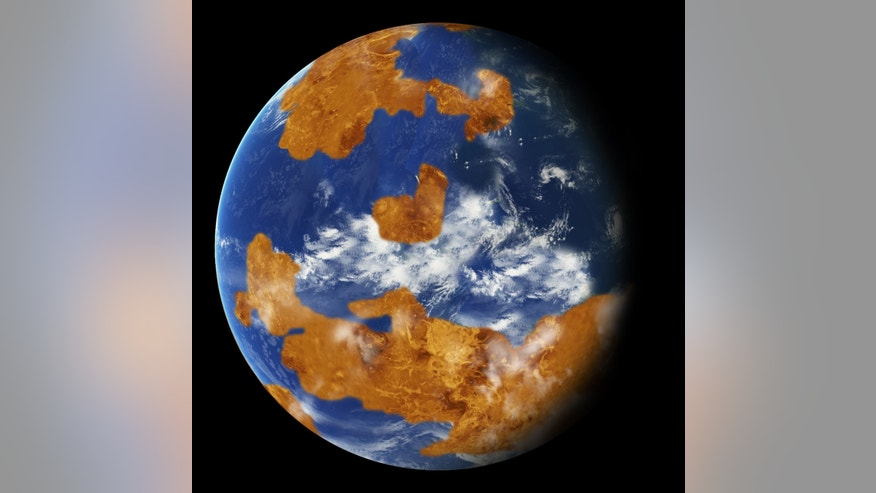 Observations suggest Venus may have had water oceans in its distant past. A land-ocean pattern like that above was used in a climate model to show how storm clouds could have shielded ancient Venus from strong sunlight and made the planet habitable
