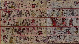Hyperspectral imaging revealed hidden pictographic scenes underneath a layer of plaster and chalk, which are not visible to the naked eye.