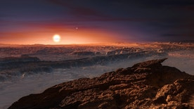 This artist's impression shows a view of the surface of the planet Proxima b orbiting the red dwarf star Proxima Centauri, the closest star to the Solar System. The double star Alpha Centauri AB also appears in the image to the upper-right of Proxima itself. Proxima b is a little more massive than the Earth and orbits in the habitable zone around Proxima Centauri, where the temperature is suitable for liquid water to exist on its surface.