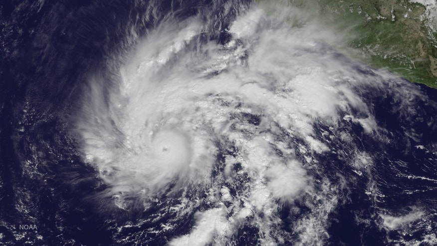 File photo: Hurricane Sandra is seen in a NOAA image taken from the GOES East satellite off the coast of Mexico at 12:45 ET (17:45 GMT) November 25, 2015.
