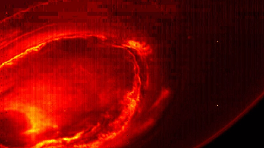 This Aug. 27, 2016 infrared image provided by NASA shows the southern aurora of Jupiter, captured by NASA's Juno spacecraft.