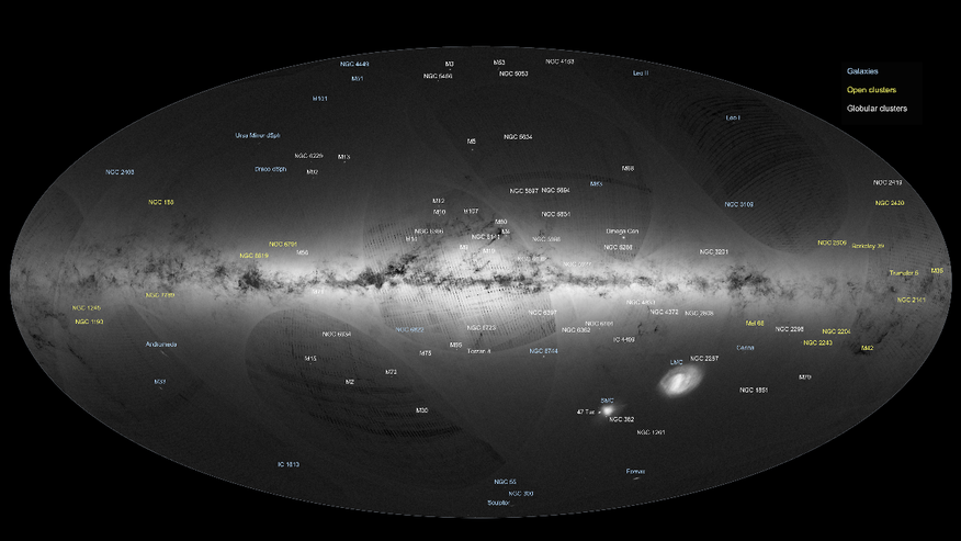 Gaia's first sky map, annotated (ESA/Gaia/DPAC)