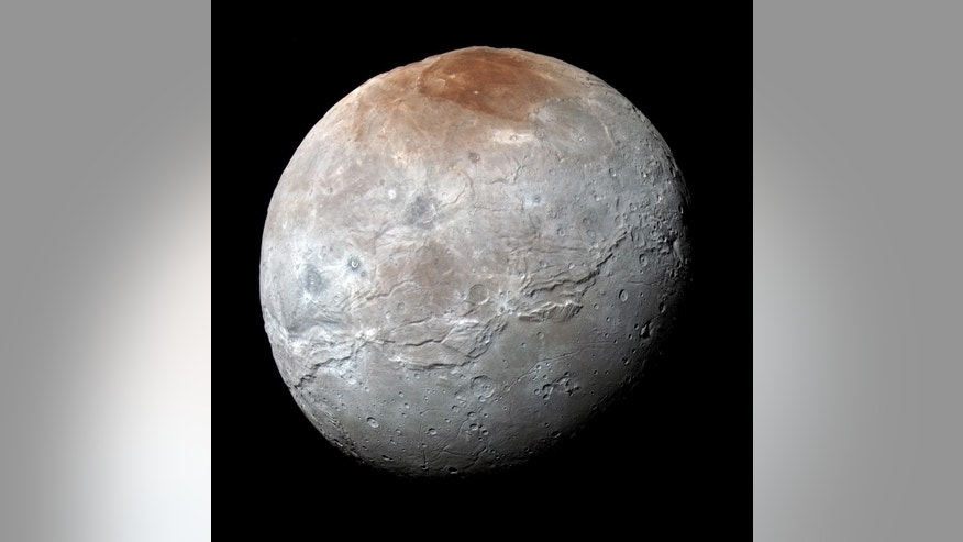 NASA's New Horizons spacecraft captured this high-resolution, enhanced color view of Pluto's largest moon, Charon, just before closest approach on July 14, 2015.
