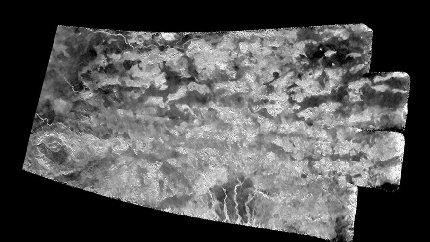 "The ""Xanadu Annex"" on Titan: This synthetic-aperture radar (SAR) image was obtained by NASA's Cassini spacecraft on July 25, 2016, during its ""T-121"" pass over Titan's southern latitudes."