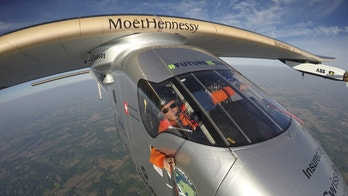"Bertrand Piccard takes a selfie on board the ""Solar Impulse 2"" during his flight from Dayton, Ohio to Lehigh Valley International Airport in Allentown, Pa., where he landed, Wednesday, May 25 2016. The plane was expected to make at least one more stop in the United States — in New York — before crossing the Atlantic Ocean to Europe or northern Africa. (Bertrand Piccard/Solar Impulse via AP)"