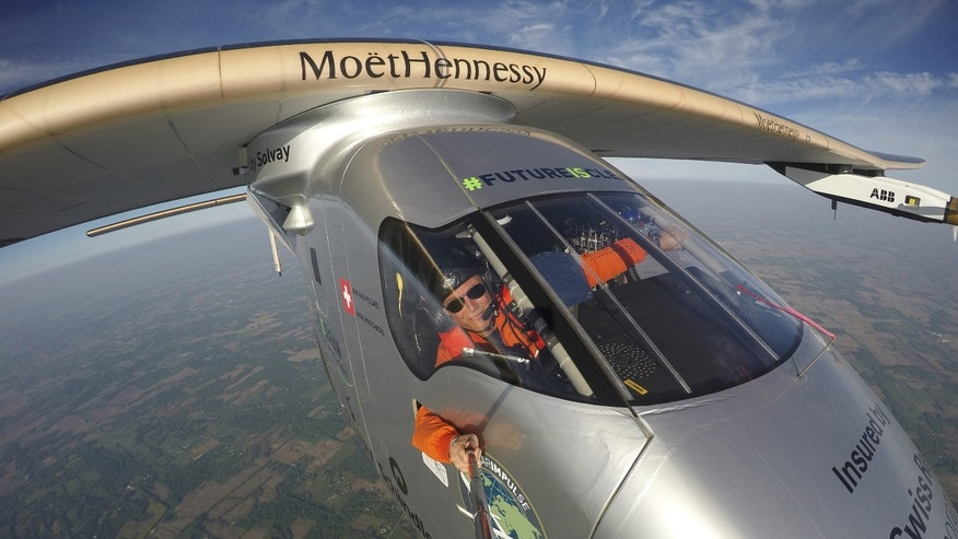 "File photo - Bertrand Piccard takes a selfie on board the ""Solar Impulse 2"" during his flight from Dayton, Ohio to Lehigh Valley International Airport in Allentown, Pa., where he landed, Wednesday, May 25 2016. (Bertrand Piccard/Solar Impulse via AP)"