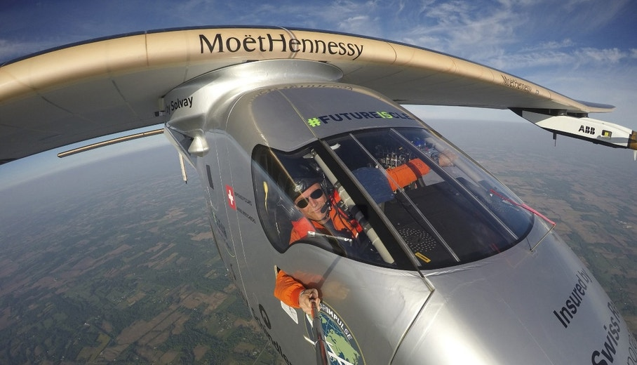 """Bertrand Piccard takes a selfie on board the """"Solar Impulse 2"""" during his flight from Dayton, Ohio to Lehigh Valley International Airport in Allentown, Pa., where he landed, Wednesday, May 25 2016. The plane was expected to make at least one more stop in the United States — in New York — before crossing the Atlantic Ocean to Europe or northern Africa. (Bertrand Piccard/Solar Impulse via AP)"""