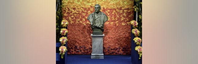 A bust of Swedish industrialist and armaments manufacturer Alfred Nobel is seen on the stage of Stockholm Concert Hall prior to the 2015 Nobel prize award ceremony December 10, 2015.  REUTERS/Claudio Bresciani/TT News Agency   ATTENTION EDITORS - THIS IMAGE WAS PROVIDED BY A THIRD PARTY. FOR EDITORIAL USE ONLY. NOT FOR SALE FOR MARKETING OR ADVERTISING CAMPAIGNS. THIS PICTURE IS DISTRIBUTED EXACTLY AS RECEIVED BY REUTERS, AS A SERVICE TO CLIENTS. SWEDEN OUT. NO COMMERCIAL OR EDITORIAL SALES IN SWEDEN. NO COMMERCIAL SALES. - RTX1Y3RY