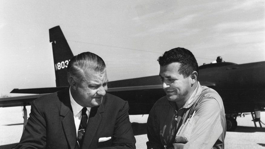 Pilot Francis Gary Powers (R) speaks with U-2 designer Kelly Johnson in this 1966 U.S. Air Force handout photo.