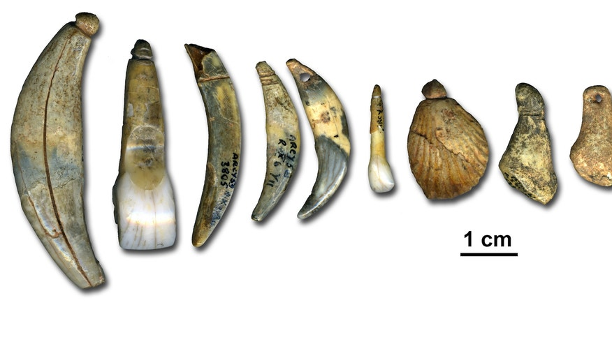 The Chtelperronian body ornaments and bone points archaeologists discovered at the Grotte du Renne in Arcy-sur-Cure, France.