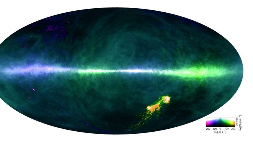 This HI4PI map was produced using data from the 100-m Max-Planck radio telescope in Effelsberg, Germany and the 64-m CSIRO radio telescope in Parkes, Australia. The plane of the Milky Way runs horizontally across the middle of the image.