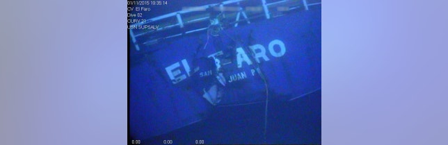 The stern of the El Faro is shown on the ocean floor taken from an underwater video camera on November 1, 2015. Courtesy National Transportation Safety Board/Handout via REUTERS ATTENTION EDITORS - THIS IMAGE WAS PROVIDED BY A THIRD PARTY. EDITORIAL USE ONLY - RTX2MWYT