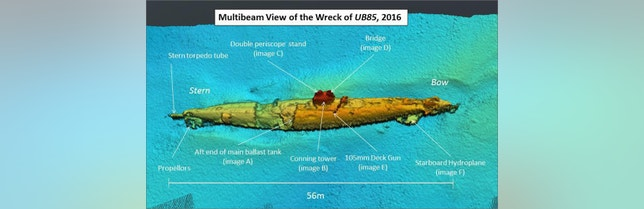 A composite image from multibeam sonar scans of the German submarine wreck on the seafloor off the coast of southwest Scotland.