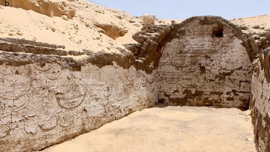 The interior of the structure is about 68 feet by 13 feet (21 by 4 m) and is covered with a tableau containing images of more than 120 ancient Egyptian boats. The images are incised into the white plaster.