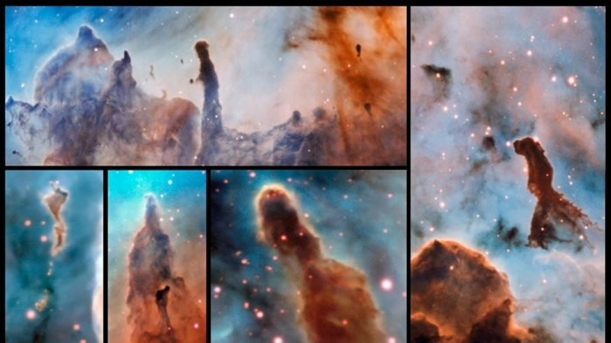 These composite image shows several pillars within the Carina Nebula which were observed and studied with the MUSE instrument, mounted on ESO's Very Large Telescope.