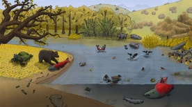 An ancient California river scene, illustrated by Jacob Biewer, depicts the giant salmon.