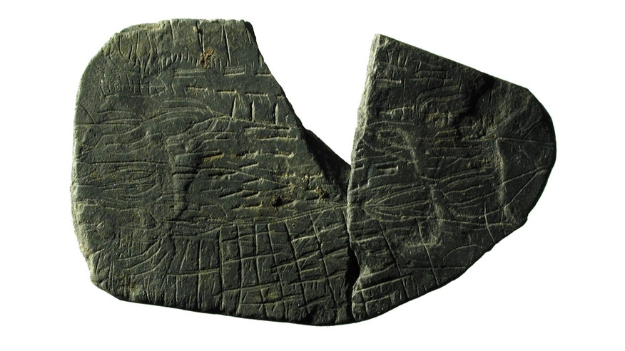 "One of the 5,000-year-old ""map stones"" discovered on the island of Bornholm in Denmark, which may show fields, fences and crops."