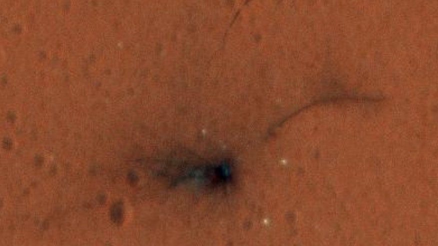 Zoomed-in view of the crater caused by the crash of Europe's Schiaparelli Mars lander on Oct. 19, 2016. Photo taken by NASA's Mars Reconnaissance Orbiter on Nov. 1, 2016.