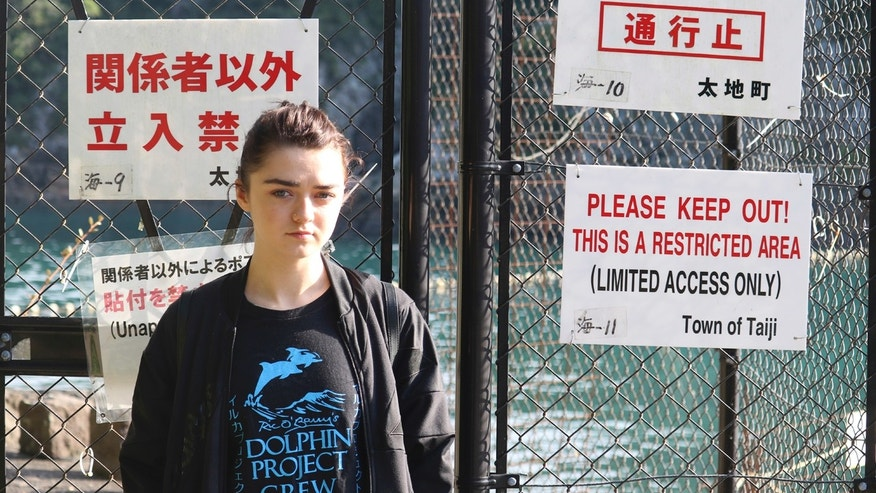 In this photo released by DolphinProject, Maisie Williams stands in front of a fence with notice boards beside the beach known for dolphin hunting in Taiji, Wakayama prefecture, central Japan, Friday, Dec. 2, 2016.