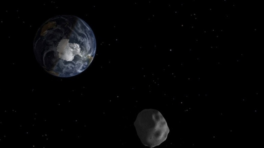Artist's illustration of a small near-Earth asteroid in space.