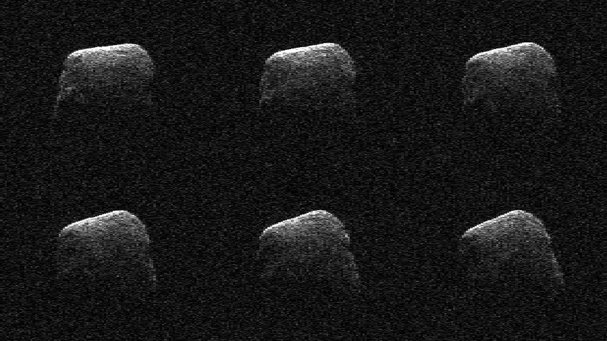 These radar images of comet P/2016 BA14 were taken on March 22, 2016, by scientists using an antenna of NASA's Deep Space Network. At the time, the comet was about 2.2 million miles from Earth. (NASA/JPL-Caltech/GSSR)