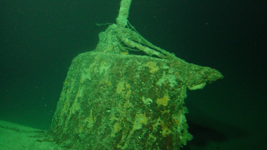 The conning tower of the mini submarine sunk by the USS Ward (Credit: University of Hawaiʻi/HURL).