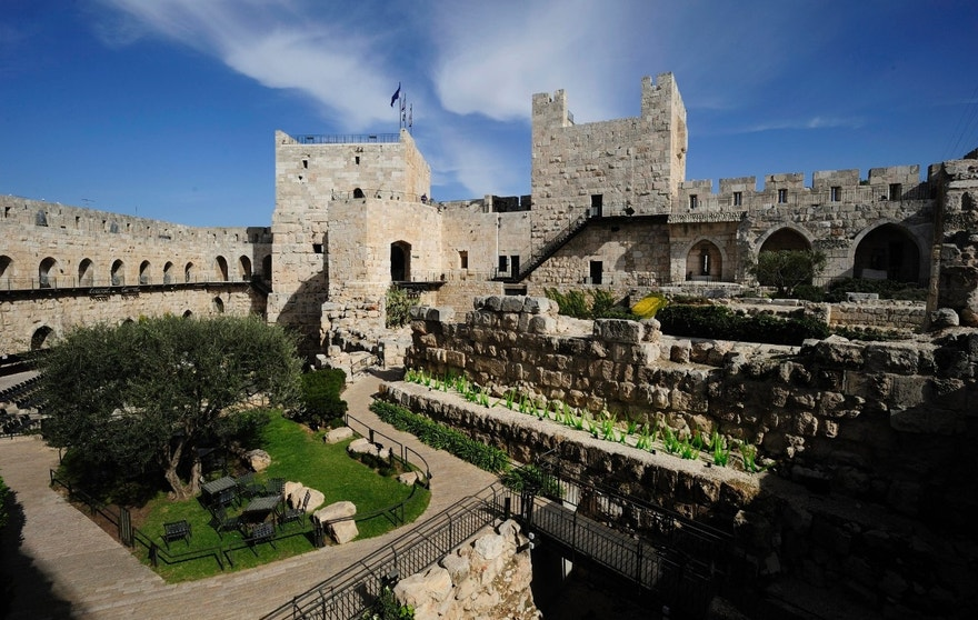 Israel, Old City of Jerusalem, The Tower of David Museum: David's Citadele (King David's Tower), ancient citadel located near the Jaffa Gate entrance to the Old City of Jerusalem. UNESCO World Heritage Site