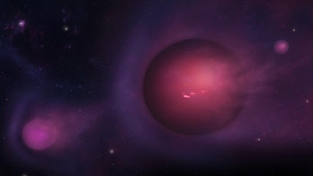 """Artwork of a brown dwarf """"star"""" with a system of planets in orbit. A brown dwarf is an object which began to accumulate material like a star but which never collected enough for hydrogen nuclear reactions to begin in its core. Nevertheless, brown dwarf cores are hot enough that a special form (or isotope) of hydrogen, called deuterium, is able to undergo fusion reactions, leading to the synthesis of an isotope of helium called helium-3. And the more massive brown dwarfs are able to produce ordinary helium through the consumption of another element, lithium. Brown dwarfs are difficult to detect because they emit no little and, in many cases, no real light of their own, and probably appear more like a large, magenta version of a gas giant."""