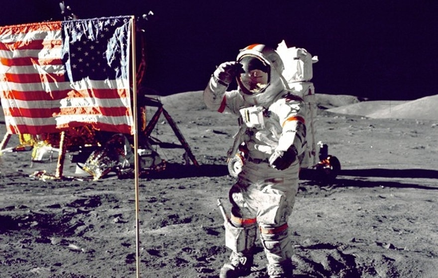 12. Eugene A. Cernan, Apollo 17, 1972: Cernan, Commander of the Apollo 17 mission, salutes the flag on the lunar surface during NASA's final moon mission.