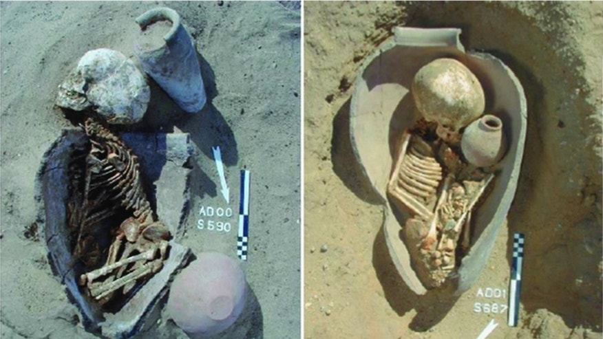 Here, the remains of children buried in pots at a cemetery in Adaïma, Egypt, dating to the Pre- to Early Dynastic period (5500 to 2700 B.C.).