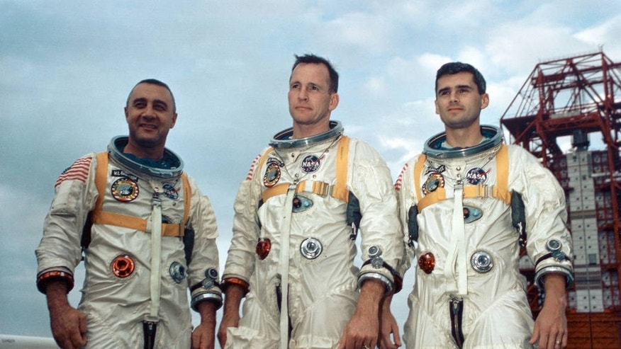 Apollo 1 astronauts (left to right) Gus Grissom, Ed White, and Roger Chaffee posing in front of Launch Complex 34 at Cape Canaveral Air Force Station in Florida. All three were killed when a fire blazed up in their capsule during a ground test on Jan. 27, 1967. (NASA)