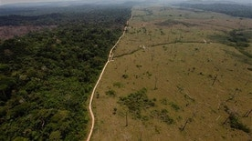 "FILE - In this Sept. 15, 2009 file photo, a deforested area is seen near Novo Progresso, in Brazil's northern state of Para. The Brazilian Amazon is arguably the world's biggest natural defense against global warming, acting as a ""sink,"" or absorber, of carbon dioxide. Brazilian legislators are pushing to resume debate Tuesday, May 24, 2011 on changes to an environmental law that watchdog groups warn will speed destruction of the Amazon rain forest. (AP Photo/Andre Penner, file)"