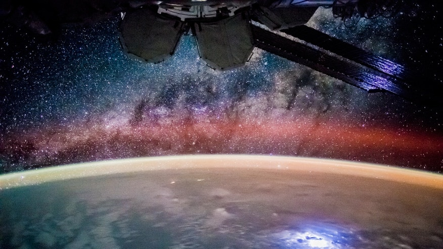 Astronauts aboard the International Space Station captured this view of lightning over the Pacific Ocean at night. One new tool heading to the station, the Lightning Imaging Sensor, will track the more than 45 lightning strikes per second that hit Earth.
