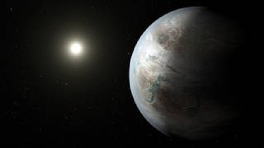 This artist's concept depicts one possible appearance of the planet Kepler-452b, the first near-Earth-size world to be found in the habitable zone of a star that is similar to our sun. (Credits: NASA/JPL-Caltech/T. Pyle)