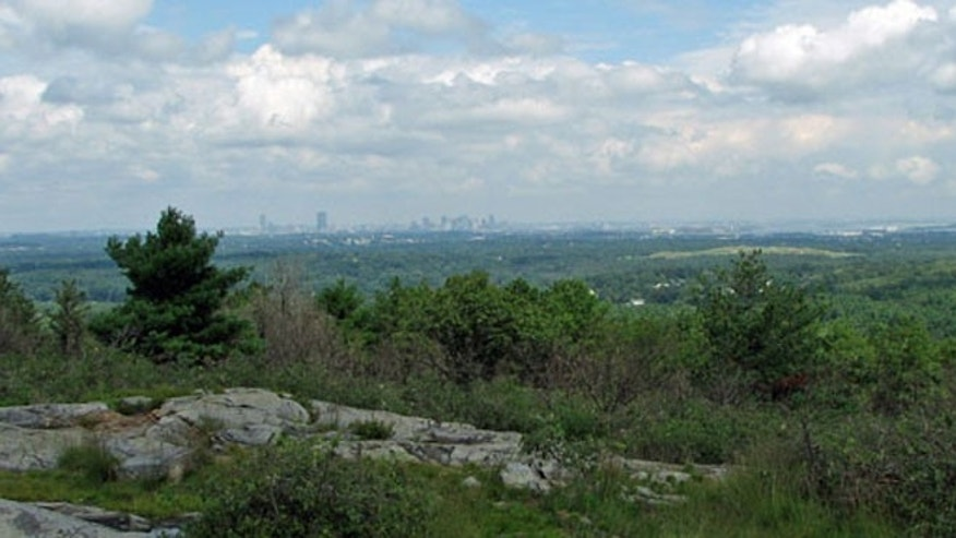 Boston skyline as seen from Buck Hill in the Blue Hills.