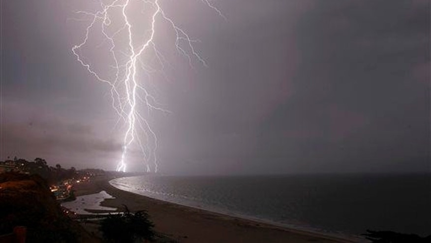 A new study shows lightning over the ocean--such as this strike in 2015 in California--can be much more powerful than that over land.