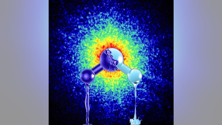 Liquid water exists in two different forms, new research reveals. Here, an illustration of the water molecule in front of an X-ray pattern from high-density amorphous ice, created by creating high pressures and low temperatures.