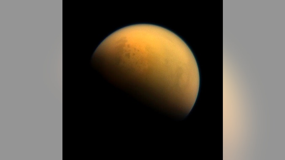 NASA image shows the hazy atmosphere of Saturn's largest moon, Titan.
