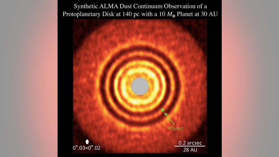 "This image, generated by a computer model, simulates the evolution of a protoplanetary disk with one ""super-Earth"" alien world. It reveals similar features as the image of an actual disk such as HL Tauri observed with ALMA."