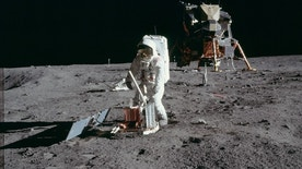 "Astronaut Edwin E. Aldrin Jr., lunar module pilot, deploys a scientific research package on the surface of the moon near the Lunar Module (LM) ""Eagle"" during the Apollo 11 extravehicular activity (EVA) in this July 20, 1969 NASA handout photo. The photograph is one of more than 12,000 from NASA's archives recently aggregated on the Project Apollo Archive Flickr account.  REUTERS/NASA/Handout via Reuters - RTS3RON"