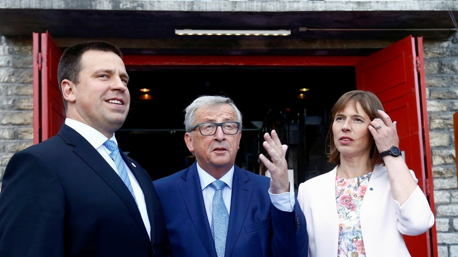 File photo: Estonia's Prime Minister Juri Ratas, President of the EU Commission Jean-Claude Juncker and Estonia's President Kersti Kaljulaid attend the opening ceremony of the Estonian Presidency of the Council of the European Union in Tallinn, Estonia, June 29, 2017. (REUTERS/Ints Kalnins)