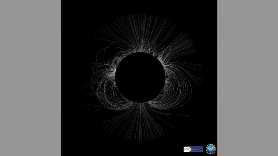 Researchers from the National Solar Observatory Integrated Synoptic Program predict the structure of the solar corona for the Aug. 21, 2017, total solar eclipse. The field lines of a solar coronal magnetic model shown in the image are based on measurements taken one solar rotation, or 27.2753 Earth days, before the total solar eclipse