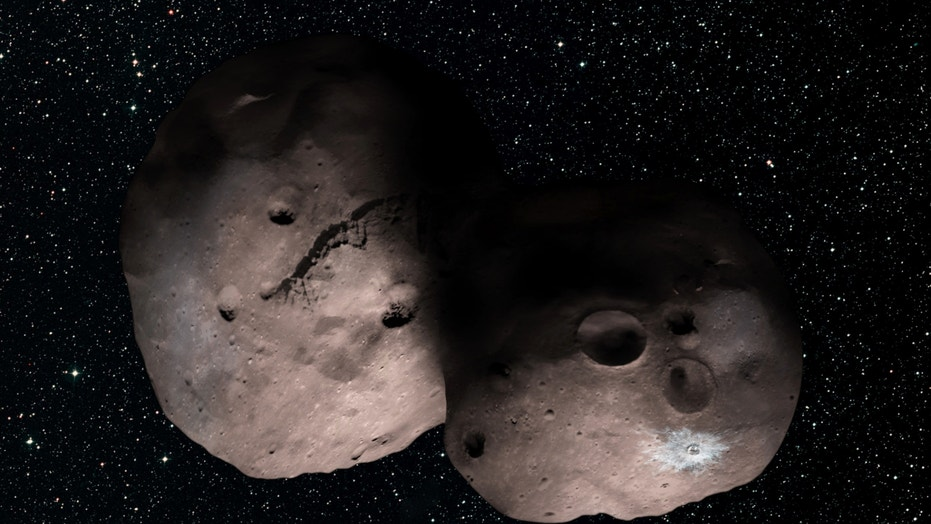 Artist's illustration of the Kuiper Belt object 2014 MU69, the next flyby target for NASA's New Horizons mission. This binary concept is based on telescope observations made from Argentina on July 17, 2017 when MU69 passed in front of a star. New Horizons scientists theorize that MU69 could be a single body with a large chunk taken out of it, or two bodies that are close together or even touching.
