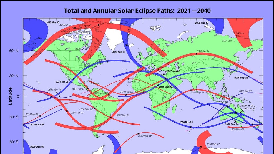 A map of total, annular and hybrid solar eclipses coming up from 2021 to 2040.