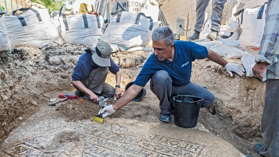The excavation of the mosaic near the Damascus gate in the Old City of Jerusalem. (Photo credit: Assaf Peretz, Israel Antiquities Authority)