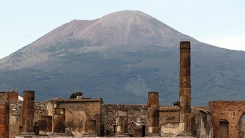 A partial view of the ancient archaeological site of Pompeii is pictured in front of Mount Vesuvius April 17, 2014. Italy's Culture Minister Dario Franceschini on Thursday will inaugurate three restored domus at Pompeii with the aim of attracting Easter visitors, according to Ansa news. REUTERS/Ciro de Luca (ITALY - Tags: SOCIETY TRAVEL) - RTR3LP06