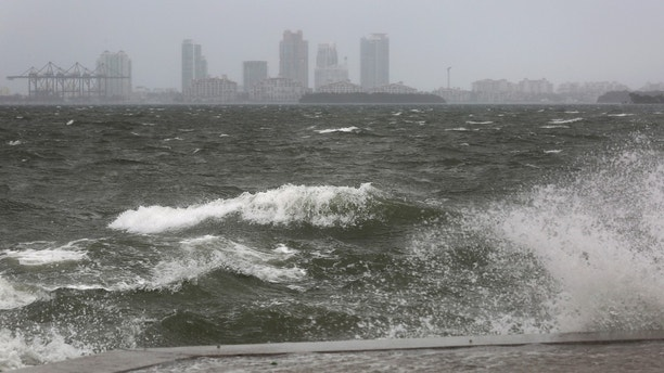 The winds and sea are whipped up off of the Rickenbacker Causeway in Miami as Hurricane Irma approaches on Saturday, Sept. 9, 2017.  ( Mike Stocker/South Florida Sun-Sentinel via AP)