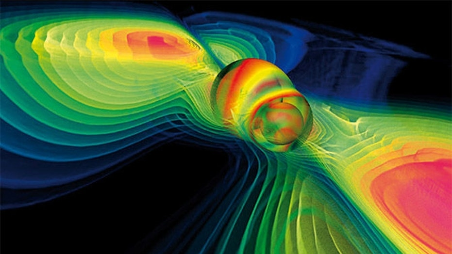 A computer simulation showing gravitational waves during a black-hole collision. The discovery has major implications for science.